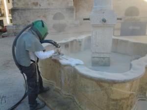 Limpieza con chorro de arena