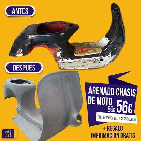 oferta de arenado de chasis de moto con 30% descuento en Galvañ