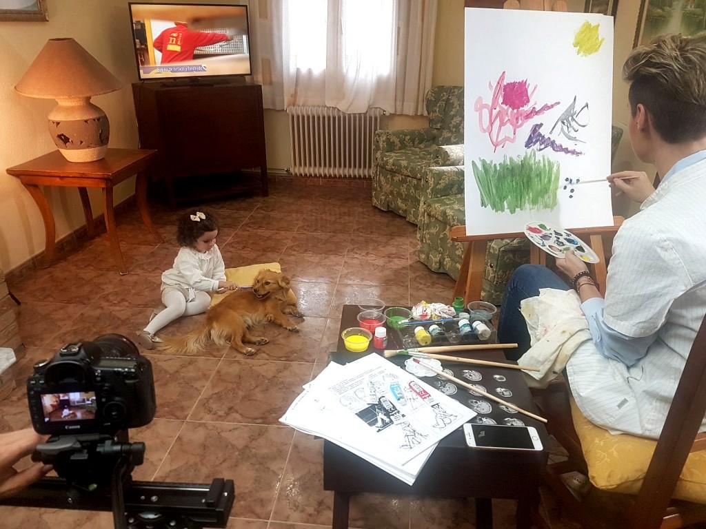 Momento del rodaje del nuevo spot publicitario de Galvañ Lacados